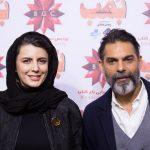 لیلا حاتمی در کنار پیمان معادی و همسرش در اکران فیلم بمب یک عاشقانه