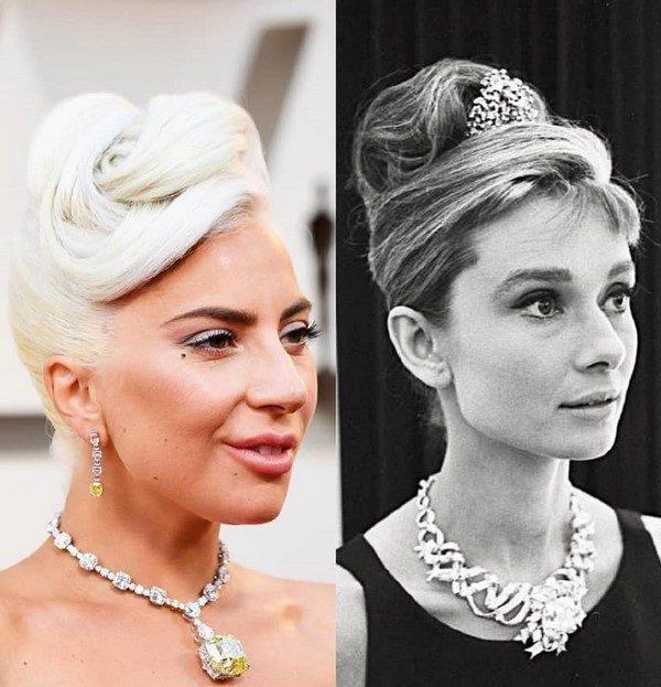 جواهر کم نظیری که لیدی گاگا در اسکار برگردن داشت و قبلا گردنِ آدری هیپبورن بود!