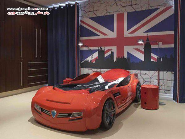دکوراسیون اتاق خواب پسرانه با تم ماشین