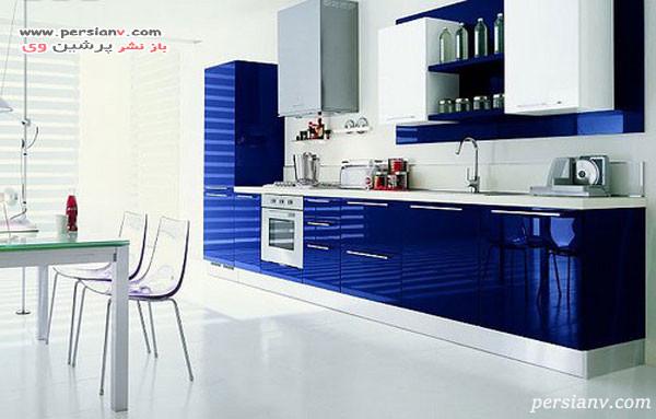 آشپزخانه مدرن آبی