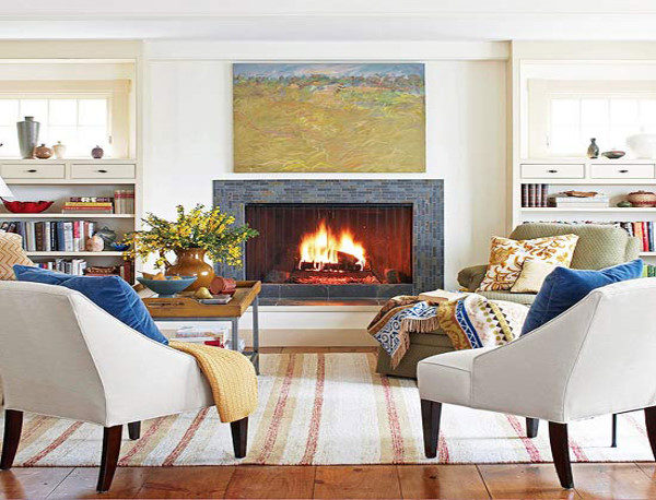 استفاده از کاناپه های سفید در چیدمان زمستانی