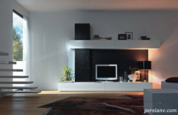 دکوراسیون اتاق نشیمن با طبقه بندی برای تلویزیون دیواری