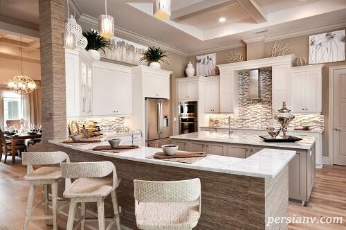 جزیره های آشپزخانه با فضای مخصوص صرف صبحانه