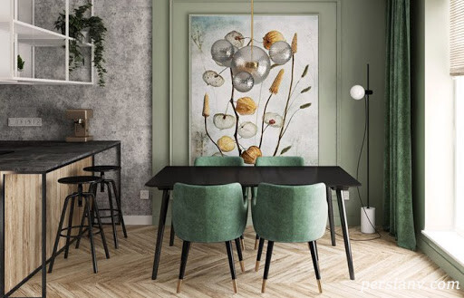 دکوراسیون جالب اتاق غذاخوری با صندلی های غیرهماهنگ