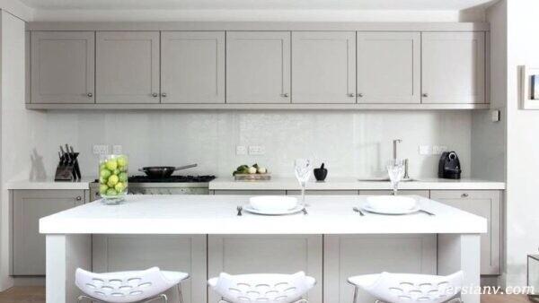 آرامش در آشپزخانه با این کابینتهای سفید