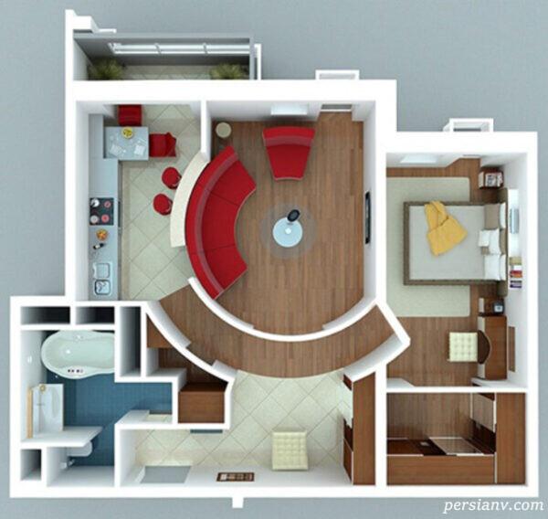 طراحی و چیدمان مدرن آپارتمان های یک خوابه