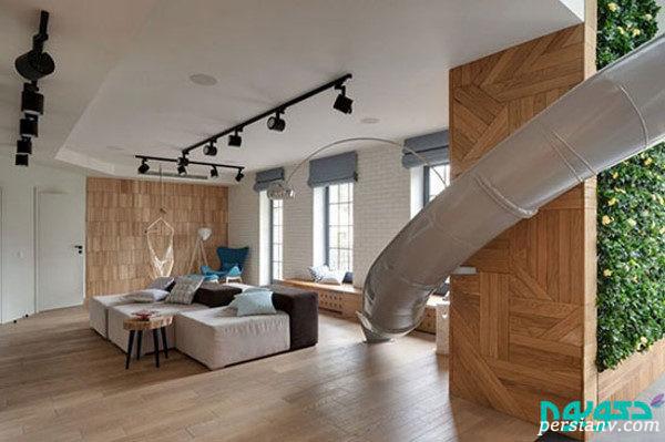 دکوراسیون داخلی این آپارتمان در دو طبقه طراحی شده + تصاویر