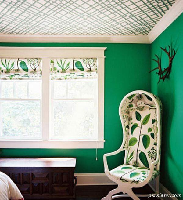سقف خانه با کاغذ دیواری