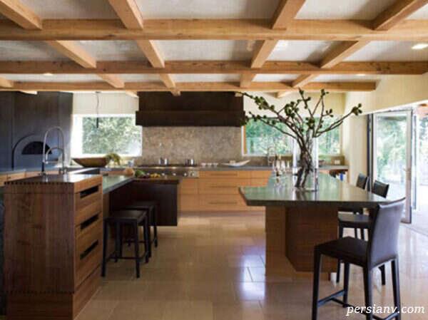 استفاده از تیرچه های چوبیبرای کوتاه نشان دادن سقف