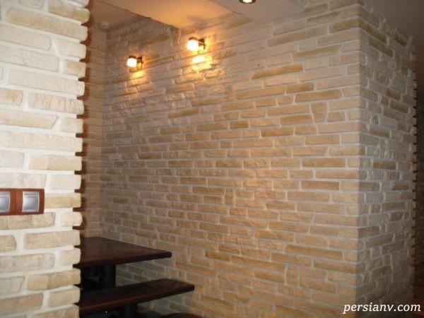 تزیین دیوار داخلی خانه با سنگ آنتیک آجر شکل