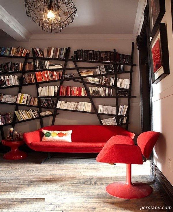 مدل کتابخانه های شیک و جمع و جور برای اتاق نشیمن +عکس