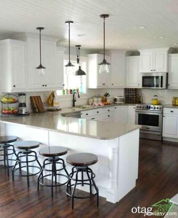 آشپزخانه ای کوچک با چیدمانی ساده و زیبا