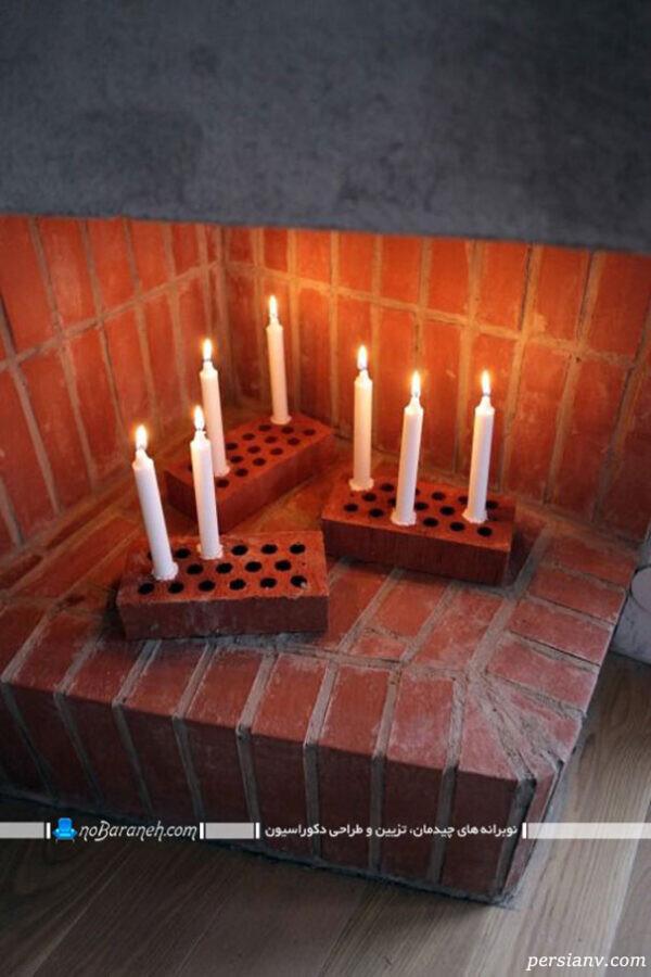 شمع داخل شومینه