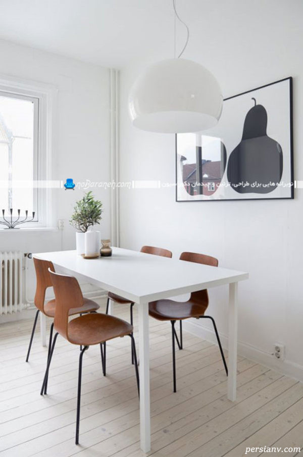 میز نهارخوری چهار نفره سفید با پایه استیل
