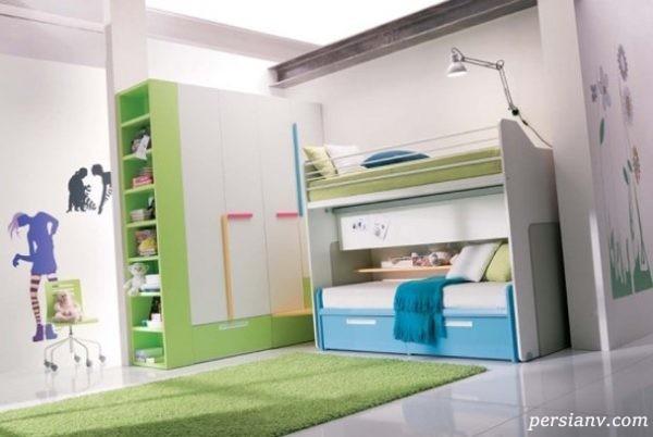 طراحی مدرن دکوراسیون اتاق خواب نوجوانان با رنگهای متنوع و شاد