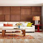 طراحی داخلی اتاق نشیمن با نمای گرم و زیبای دیوارهای چوبی +عکس