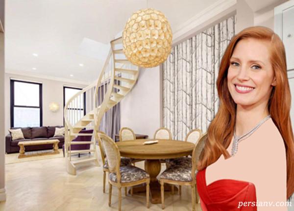 دکوراسیون خانه دوبلکس زیبای جسیکا چستین بازیگر زن معروف آمریکایی
