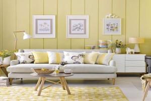 اتاق نشیمنی با تم زیبای زرد و طوسی داشته باشید+تصاویر