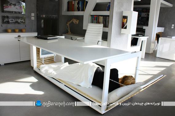 یک میز جالب اداری که تخت خواب شو نیز هست+تصاویر