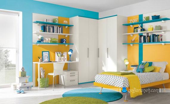 طراحی مدرن دکوراسیون اتاق خواب نوجوانان با رنگهای متنوع و شاد+تصاویر