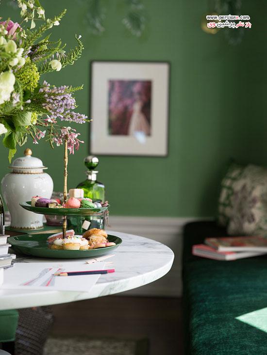 اتاق نشیمن به رنگ سبز زمردی