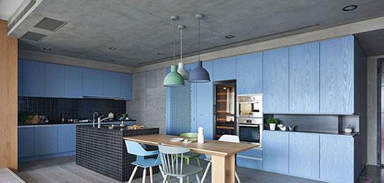 انرژي مثبت در خانه با دکوراسيون آبي آشپزخانه