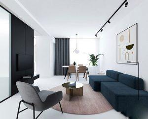 ۳ اتاق نشیمن کوچک با فضایی سفید و بسیار روشن