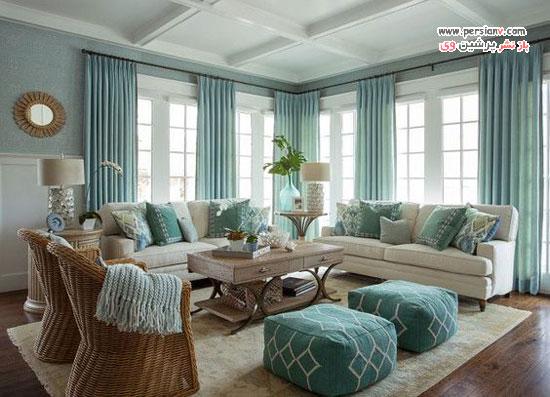 دکوراسیون اتاق نشیمن به سبک ساحلی با نمایی آرامش بخش و زیبا