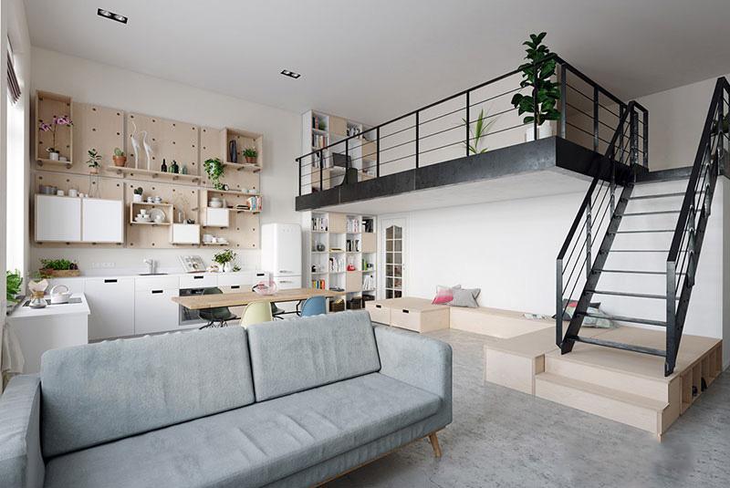استفاده بهینه از فضا در چيدمان آپارتمان اسکاندیناوی
