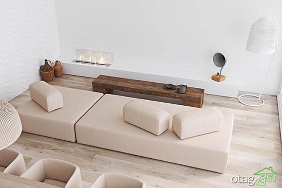 سبک مینیمال در طراحی داخلی منزل سه خوابه با پلان کف سازی