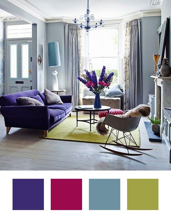 ترکیب رنگ ها با بنفش برای دکوراسیون