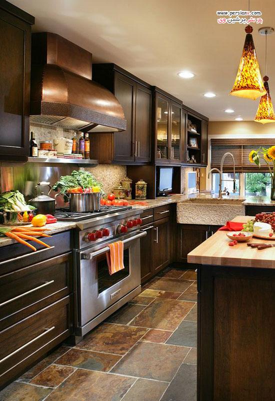 آشپزخانه با کابینت های تیره