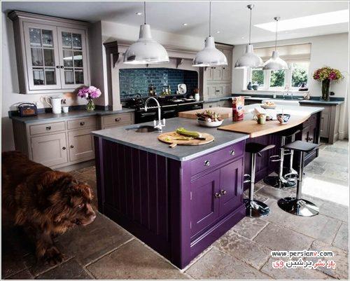 رنگ کابینت ها و جزیره آشپزخانه