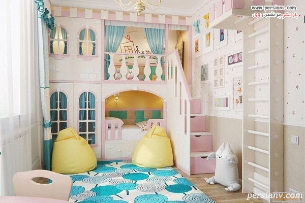 دکوراسیون اتاق خواب 12 متری دخترانه