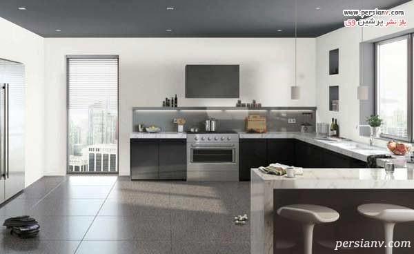 آشپزخانه بدون کابینت بالا