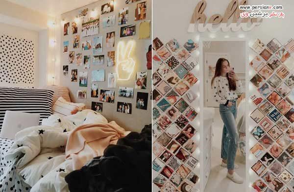 تزیین دیوار با عکس بدون قاب