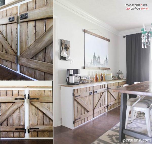نوسازی کابینت با درهای چوبی