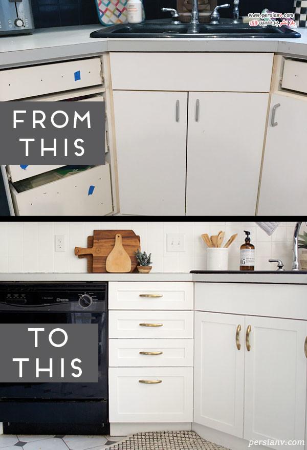 قبل و بعد قاب بندی کردن درب های کابینت