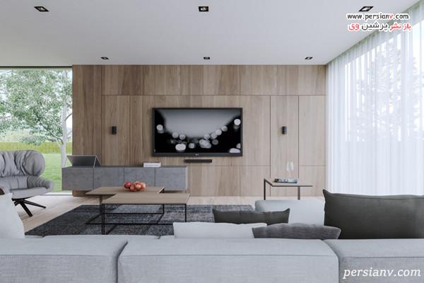 پانل های چوبی در دکور تلویزیون