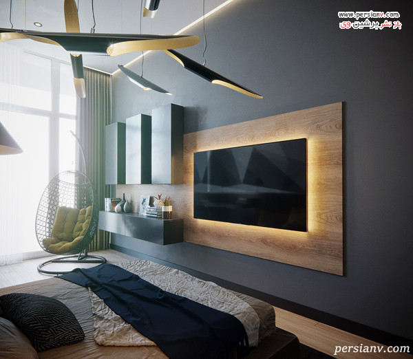 نمونه ای از سازه چوبی تلویزیون در اتاق خواب
