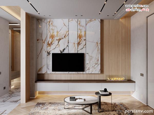 دکور سفید طلایی دیوار پشت تلویزیون