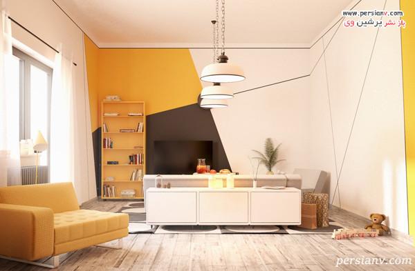 دکوراسیون دیوار تلویزیون به رنگ زرد