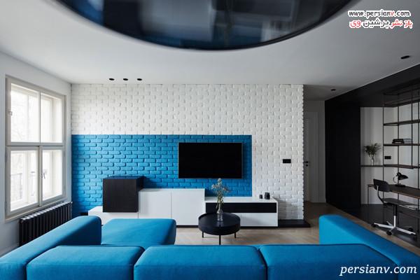 دکور اطراف تلویزیون به رنگ آبی