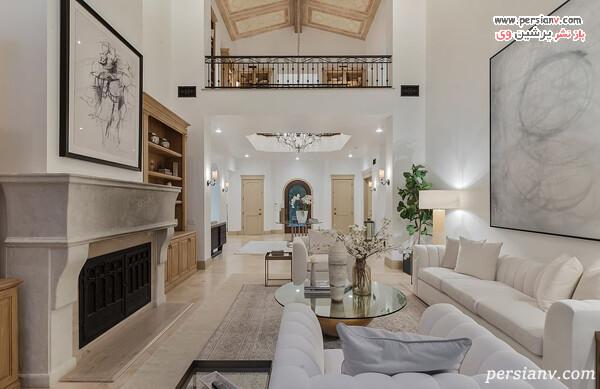 دکور سفید در خانه خواننده معروف