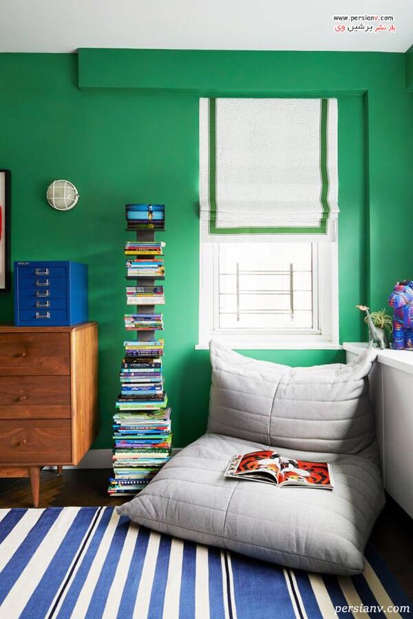 طراحی خاص و ستونی قفسه کتاب