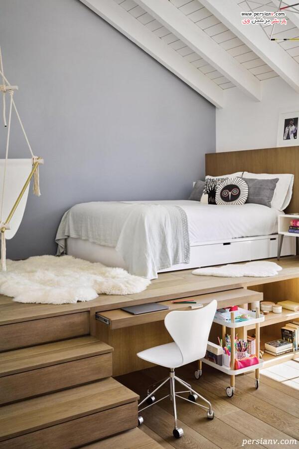 پلتفرم تخت در اتاق خواب