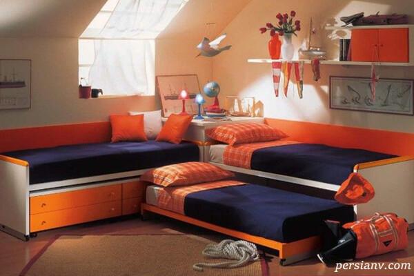 دکوراسیون اتاق خواب سه تخته یک مادر برای سه دخترش