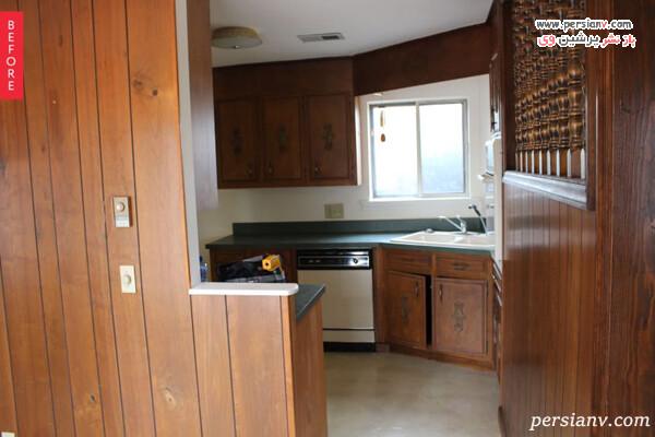 قبل و بعد بازسازی آشپزخانه
