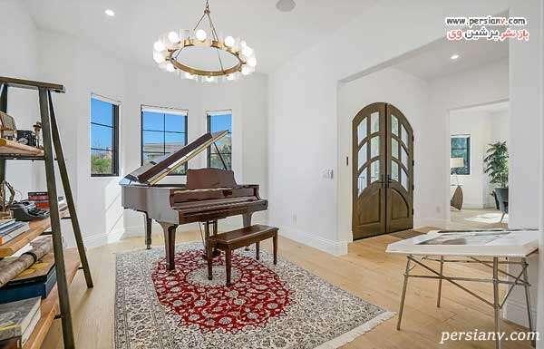 اتاق پیانو با فرش ایرانی