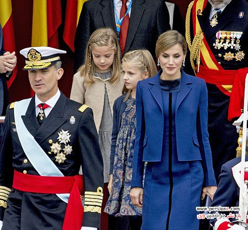 ملکه اسپانیا و دو دختر زیبایش در روز ملی اسپانیا +عکس